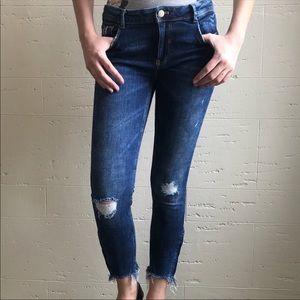 Zara distressed raw hem cropped  dark skinny jeans